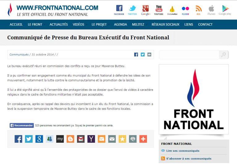 Communiqué- Front National