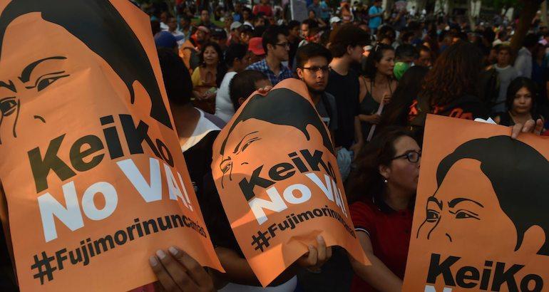 Une manifestation anti-Keiko Fujimori.